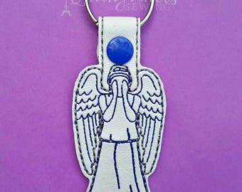 guardian angel-angel key chain-angel key fob-memorial key chain-embroidered angel-weeping angel-snap tab angel-grieving gift