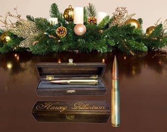 Gifts for Men Stocking Stuffers | Real.50 caliber BMG Bullet Pen Personalized - Engraved Wood Gift Box, Father of Bride / Groom Groomsman