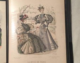 "French Fashion Plate Pring - Hand Colored - ""La Mode de Paris"" - 1890s"