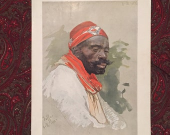"Antique Print of ""Araber"",  painting by H. Arnold - German Art Print"