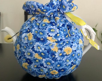 spring flowers teapot cozy, blue,yellow,birthday gift, friends,family