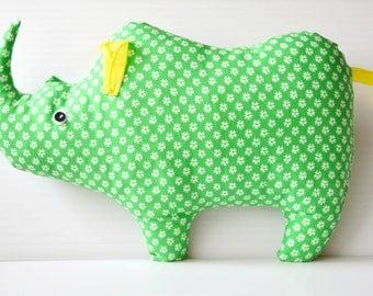 Rhino plush Rhino toy Animal toy  Rhino stuffed Baby Toy Soft toy Gift for new baby Rhinoceros plush toy Green Rhino Softie Baby Gift  Doll