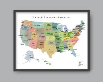 Usa State Map Printable Usa Map Kid Nursery Modern Home Decor P357