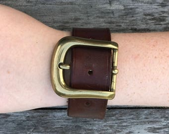 Genuine Brown Leather Cuff with Metal Buckle