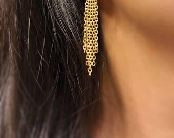 Gold chain fringe earrings