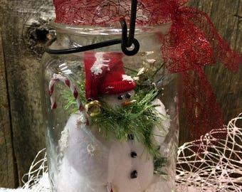 Snowman Vintage Ball Quart Canning Jar w a Metal Bail & Glass Lid Snowmen