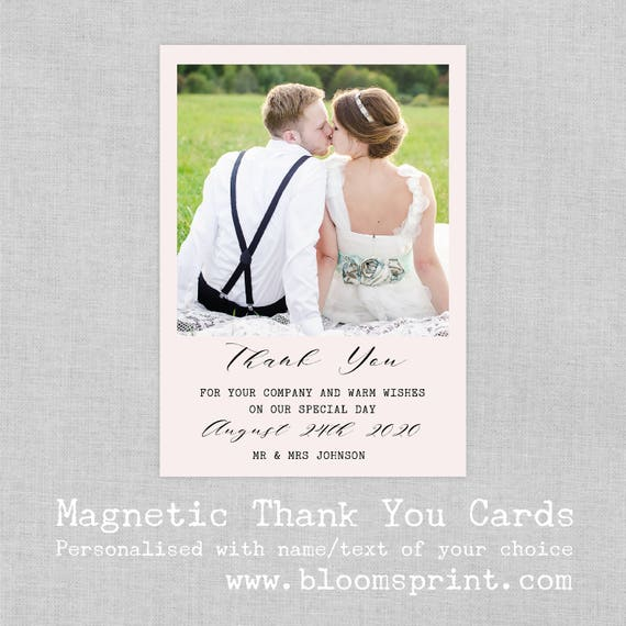 Wedding thank you cards with photo, Magnet thank you cards, Wedding thank you notes with photo, Thank you from Mrs & Mr, A6