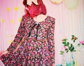 THE VERONIKA DRESS (Size Extra Small xs ) - Vintage Goth Witchy Dress Gothic Lolita Witchy Clothing Gothic Dress Vintage Tea Party Dress