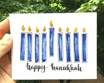Instant Download, Printable, Hanukkah Card, Happy Hanukkah, Menorah Card, Hanukiah Card, Blank Inside