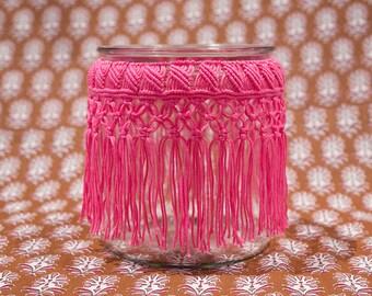 Pink Macrame Hurricane, Macrame Vase, Macrame Jar, Macrame Candleholder, Candleholder, Vase, Macrame, Jar