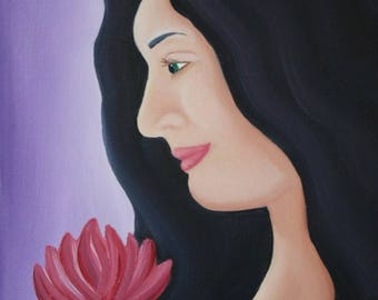 Thinking of You - 8x10 oil painting of a woman holding a flower