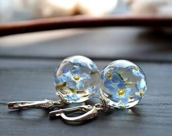 Forget me not earrings - flower jewelry - silver Forget me not earrings - Silver Leverback Hooks Forget me not Earrings