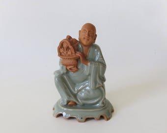 Vintage Ceramic Buddhist Shaolin Monk Figurine Incense Burner Meditation Accessory