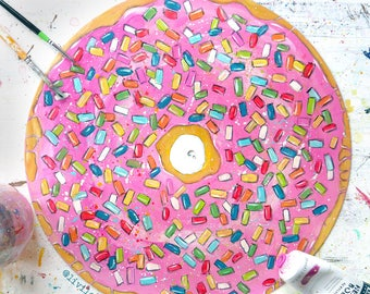 Doughnut wall doughnut art doughnut gift doughnut picture cafe wall art vinyl record art bedroom wall art kitchen wall art kitchen decor