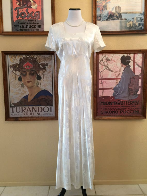 Gorgeous 80's White Satin Maxi Dress, Embossed with a floral Pattern,Size 11/ 12.