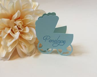 Personalized Place Cards, Baby Shower Place Cards, Stroller Place Cards,  Custom Place Cards