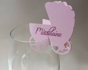 Personalized Place Cards, Baby Shower Place Cards, Stroller Place Cards, Wine Glass Rim Place Cards, Custom Place Cards, Neutral Baby Shower