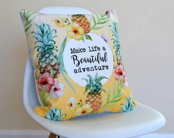 Tropical Pineapple Christmas Quote Cushion, Yellow Cushion, Home & Living, New Home Gift, University Gift, Friend Gift, Home Decor