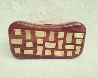 Wooden Clutch with the metal Clasp/Casual Clutch/Evening Clutch/Gift Clutch