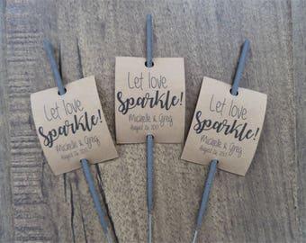 Let Love Sparkle   Sparkler Tags   Wedding Favors   Wedding Favor Tags   Custom Tags   Party Favor Tags