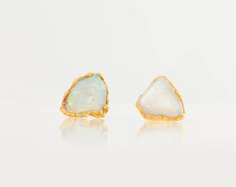 October Birthstone Earrings, Raw Opal Earring, Flashy Opal Earrings, Raw Crystal Earrings, Rough Opal Earrings, Small Opal Stud Earring