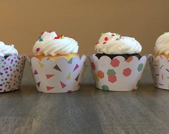 Confetti Scalloped Cupcake Wrappers | Birthday Cupcake Wrappers