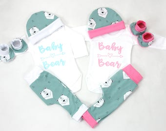 Baby Bear Twins outfit organic cotton, Twins coming home outfit, Boy and Girl Baby Bear coming home outfit, Blue and Pink