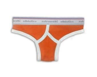 Retro thong orange new low rise jockey 80s 70s mens thong briefs y fronts rainbow underwear gay underwear modern seamless