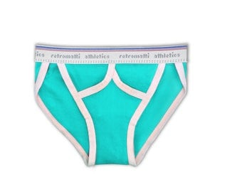 Retro string bikini briefs in aqua blue, tanga brief