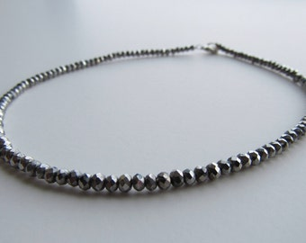 Metallic Silver Beaded Choker