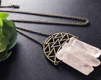 Rose Quartz Pendant Necklace// Natural Stone Necklace // Unique Long Necklace // Long Boho Necklace // Pink Stone Necklace // Raw Stone