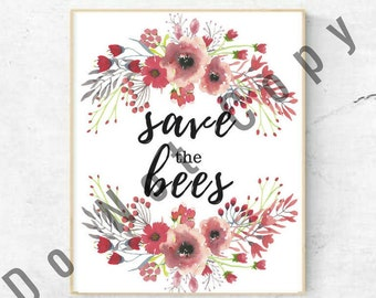Bubbly Bee Watercolor Print Posters