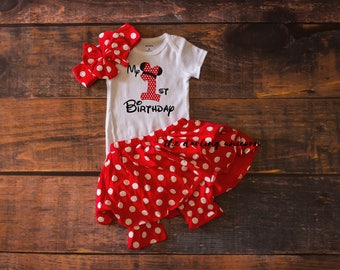 Minnie Mouse 1st Birthday Outfit, baby girl tshirt, birthday outfit, toddler outfit, 1 year outfit, red polka dot skirt, minnie mouse skirt