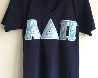 Dark Blue American Apparel V-neck University Sorority tee t-shirt