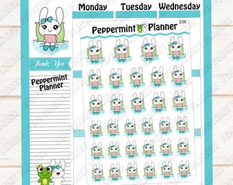 Jelly Bean chilling in bed --- hand drawn --- planner stickers --- 238