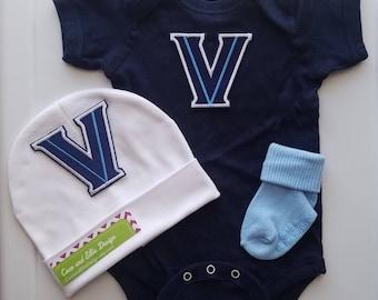 Villanova baby outfit/villanova baby shower gift/newborn villanova outfit/villanova basketball/baby villanova/villanova wildcats baby outfit