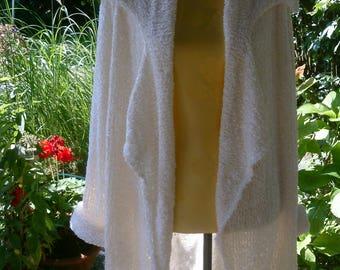 Knitted oversize coat, white, Velcro yarn, large lapel collar