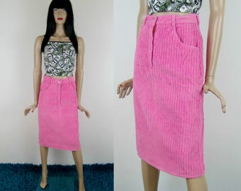 Bright pink BARBIE pencil skirt, XS/S size, 1990's vintage women's clothing, corduroy mom skirt, baby pink