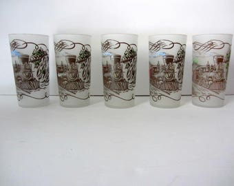 Vintage Currier & Ives Glassware Train Tumblers Watercolor Glasses Locomotive Collection Drinking Glasses Steam Engine 50s Glasses Gay Fad