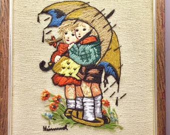 Vintage Framed Crewel Himmel Picture -Two Children in the Rain, Needlepoint, Embroidery Handmade