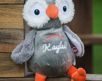 """Personalized OWL Stuffed Animal Cubbie """"Owlfred"""" Plush Toy, Custom Embroidery, Baby Toddler Child Keepsake Gift, Birth Announcement Birthday"""