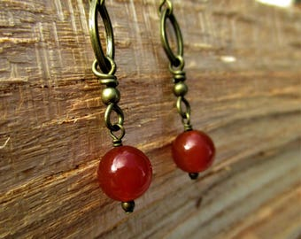 Antiqued Brass Ovals and Carnelian Drop Earrings