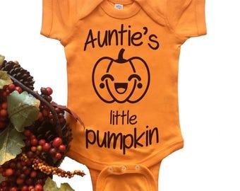 Aunt Bodysuit. Auntie's Little Pumpkin Baby Bodysuit. Halloween Costume. Bodysuit. Newborn. Infant. Funny.