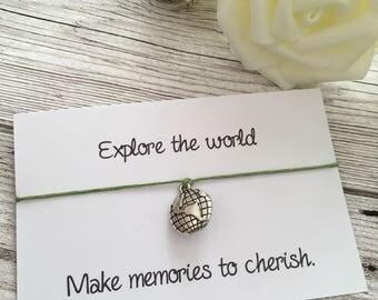 Explore the world wish bracelet, wish bracelet, globe bracelet, world bracelet, travelling bracelet, travelling gift, gift for traveller.