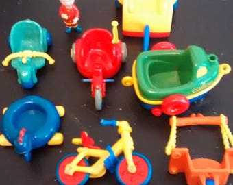 Vintage CAILLOU Doll And 7 Of His Riding Toys