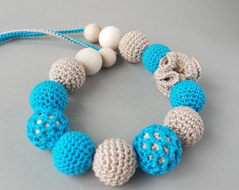 "Nursing necklace ""Seaside"" teething necklace crochet necklace jewellery for new mum Sling accessory Breastfeeding necklace Shower gift"