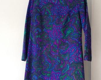 Vintage 1970s Jewel Tone Paisley Mod Dress
