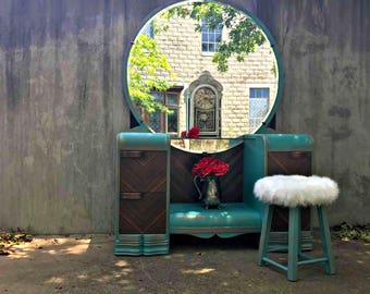 SOLD vintage painted teal and stained waterfall wooden vanity SOLD