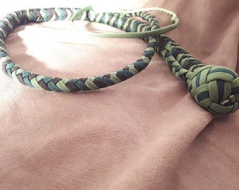 33 inches - 2 feet 9 inches paracord snake whip black and green - BDSM - S & M and kinky fetish play - Whip practice