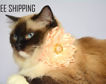 Flower cat bow tie - satin bows for cat with breakaway or non-breakaway buckle